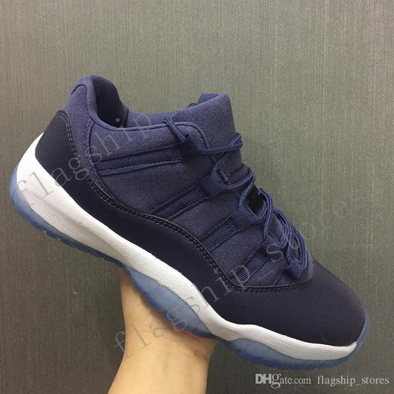New 11 Low Gs Blue Moon Basketball Shoes Men 11s Low Midnight Navy White  Sports Sneakers High Quality With Shoe Box Basketball Shoes Men Sports Shoes  Online ...