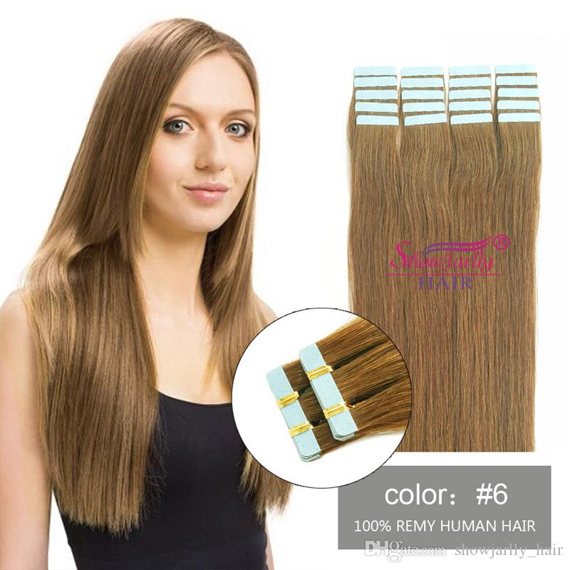 Chestnut Brown Invisible Adhesive Seamless Skin Weft Remy Hair
