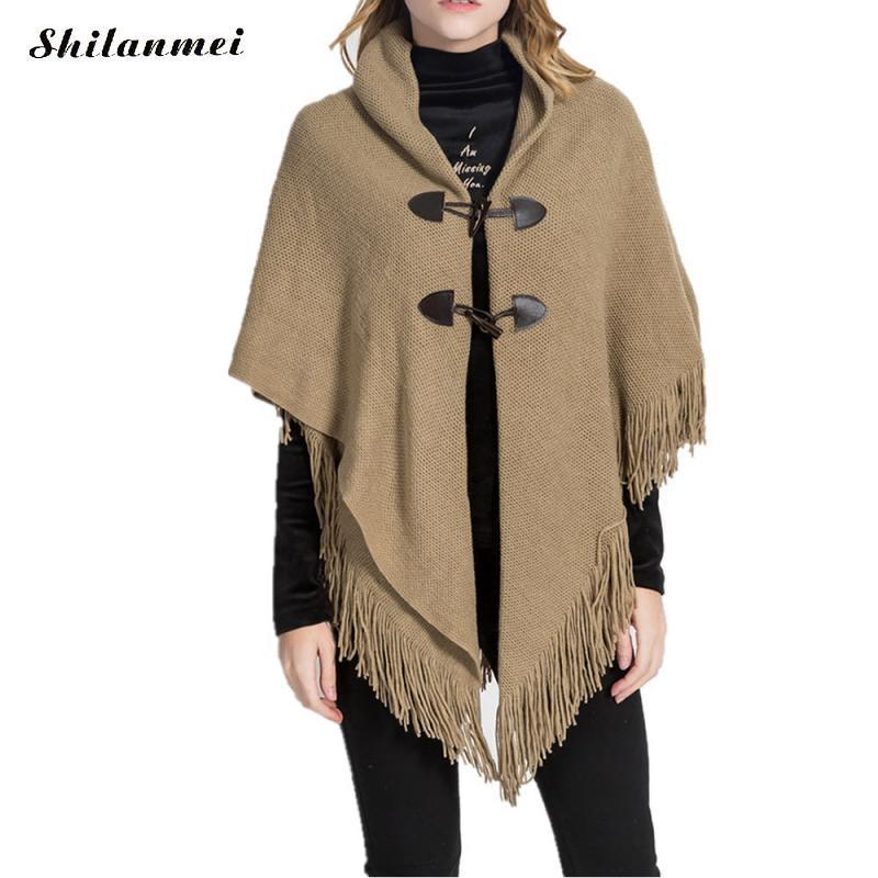 Tejido europeo de la borla de gran tamaño de las mujeres de invierno de punto poncho Capas chal rebecas suéter abrigo irregular negro retro partywear