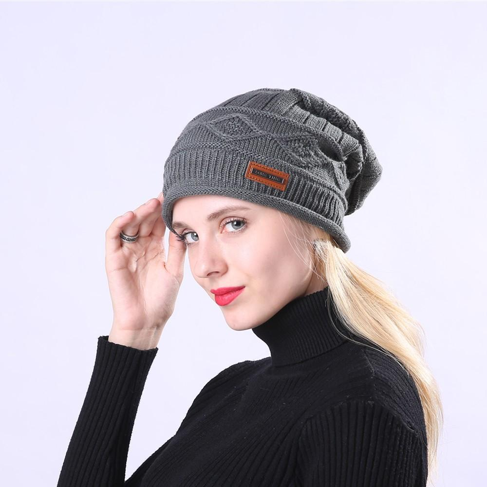 717a49b23b8 Men Women Warm Crochet Winter Plus Velvet Plaid Ear Protector Slouchy Hat  Winter Hats for Women Hat Bonnet Femme Skullies   Beanies Cheap Skullies    Beanies ...