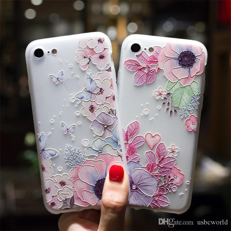 check out 7372e 4bd3f 3D Relief Emboss Flower Phone Case For IPhone X Sexy Girly Matte Soft  Silicone TPU Cover For IPhone 6 6S 7 8 Plus