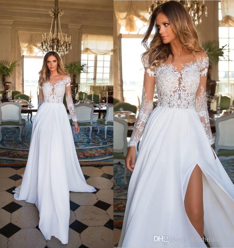 Jieruize White Simple Backless Wedding Dresses 2019 Ball: Compre Vestidos De Novia De Encaje Boho De Manga Larga