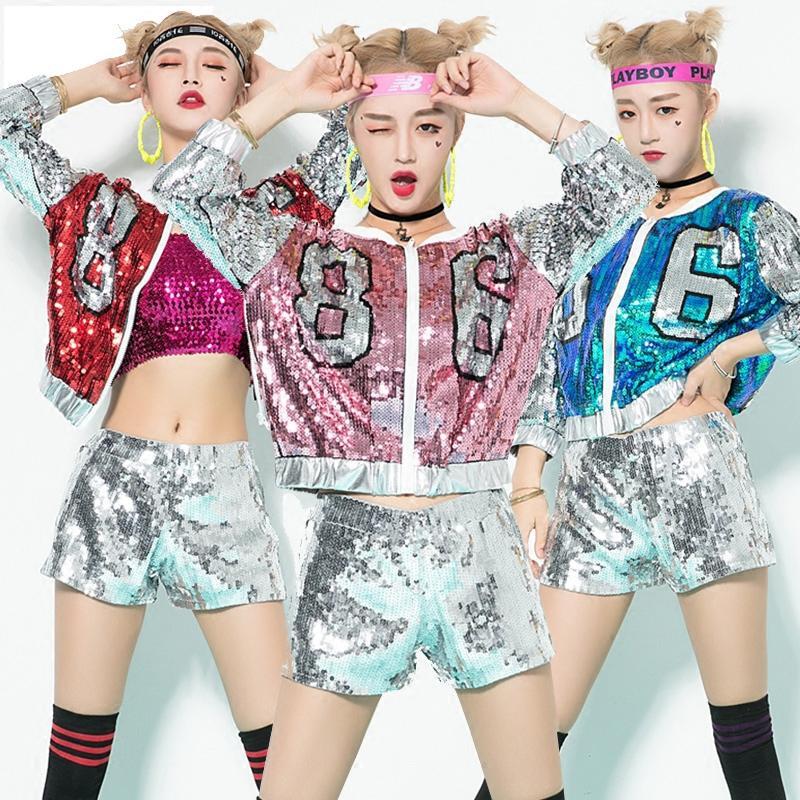 ca0689555 2019 Jazz Dance Costumes Hip Hop Sequins Jacket Shorts Sexy ...