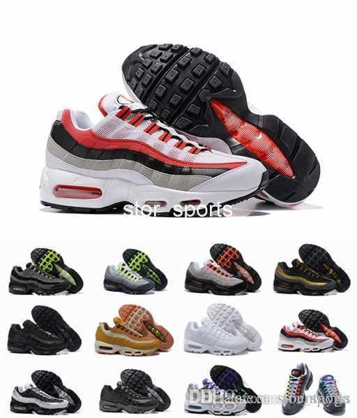 acheter en ligne 69094 5ee5c Chaussures air max 95 Pas cher 20e Chaussures de course Hommes femmes  Coussin 95 Sneakers Bottes Authentique M 95s Premium Neon Cool Gris Marche  ...