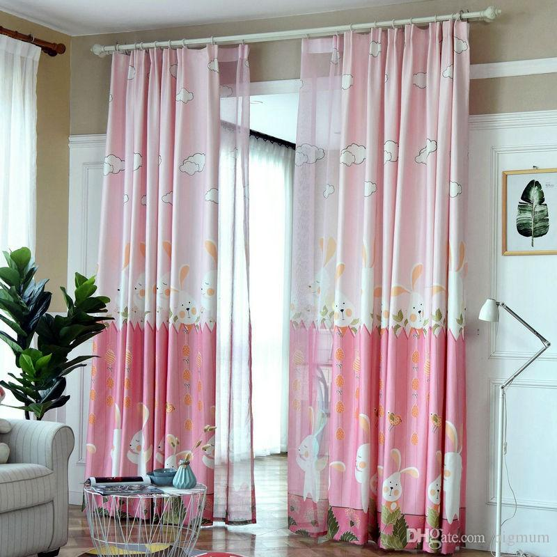 Cute Blackout Cartoon Curtains For Kids Children BedRoom Living Room Green/Pink  Color Printed Rabbit Curtain Drapes Cortina