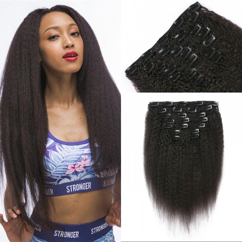 Brazilian Virgin Hair Kinky Straight Clip In Hair Extensions For