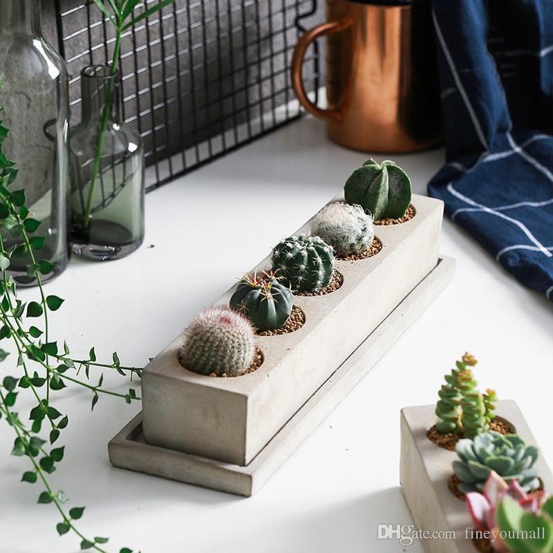 Yaratıcı Dikdörtgen Vazo Beton Ekici Kalıp El Yapımı Zanaat Ev Dekorasyon Çimento Saksı Kalıpları
