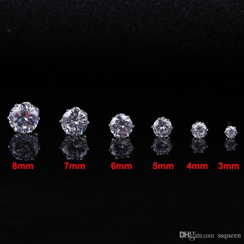 Round zirconia stud earrings 18k white gold plated hearts and arrows cut crystal CZ studs from 3mm to 8mm