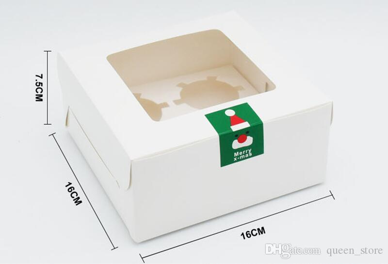 Wholesale 4 Holes Cupcake Muffin Box Cake Cup Packaging White Kraft Paper Bottom Bracket Pudding Pastry Marvin Boxes For Gift Party
