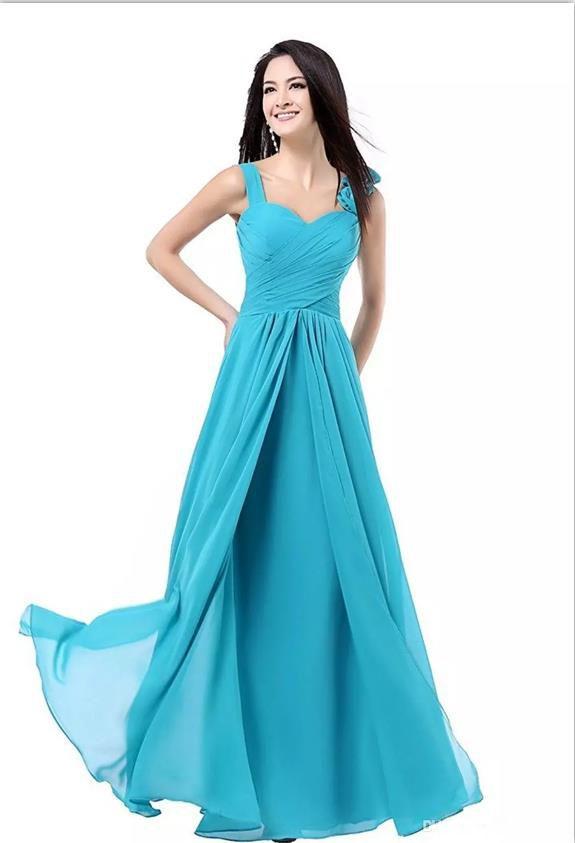 dbae5d7d1 Compre Mulheres  A Linha Até O Chão Chiffon Vestidos Festa Formal Longo  Dama De Honra Vestidos Turquesa Borgonha Rosa Azul Roxo Vermelho Plus Size  Dress De ...