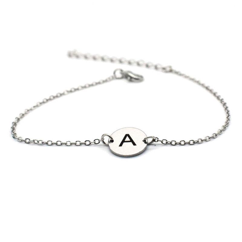 Funique 2019 26 Letters Stainless Steel Bracelet For Women 1pc Random Men Party Jewelry Sliver Gold Round Pendant Chain Bracelet Bracelets & Bangles