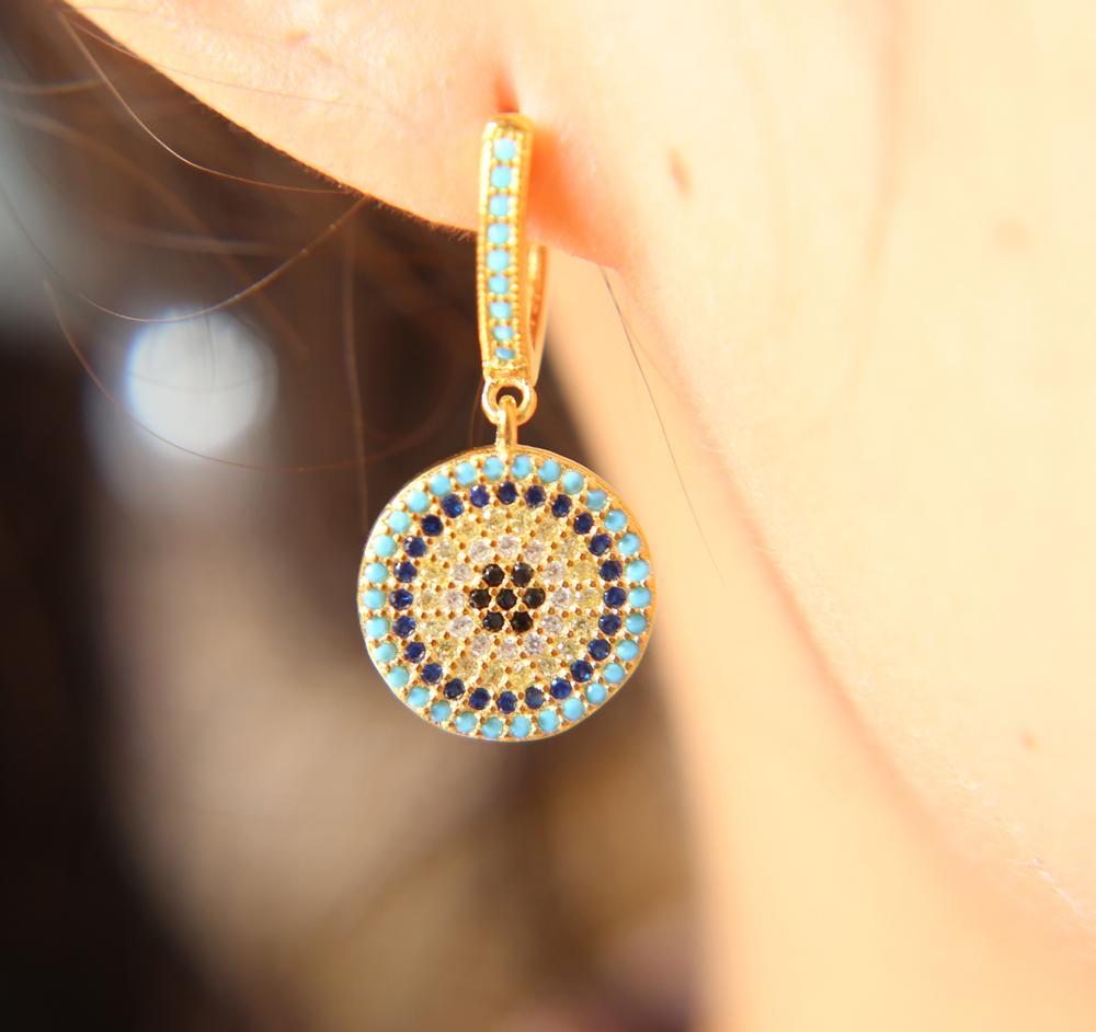 925 ayar gümüş lüks kadın takı altın renk türk nazar mikro açacağı nano turquoises dangle disko çekicilik küpe