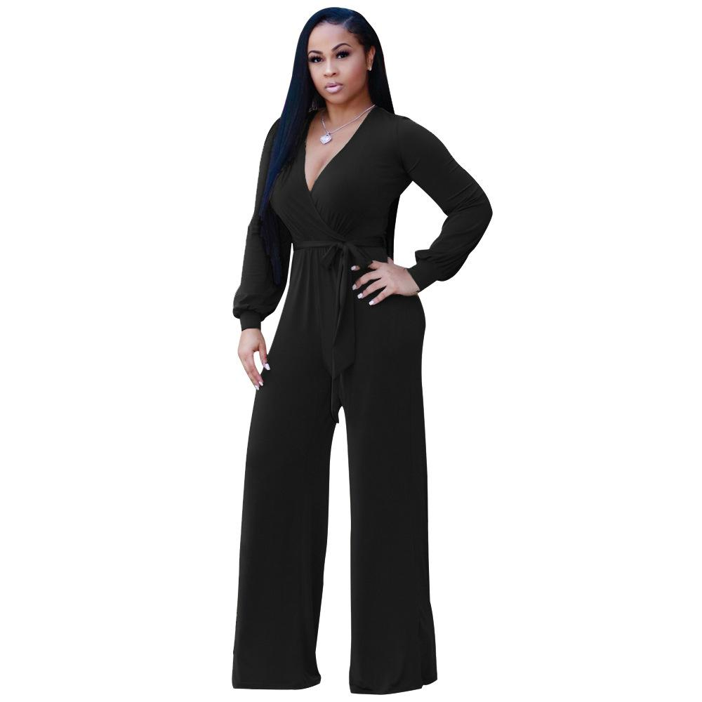 b17a1e1757 2019 Pottis Sexy Women Lace Up Jumpsuit Deep V Neck Long Sleeves Belt Wide  Legs Solid Elegant Loose Casual Romper Body Suits From Begonier