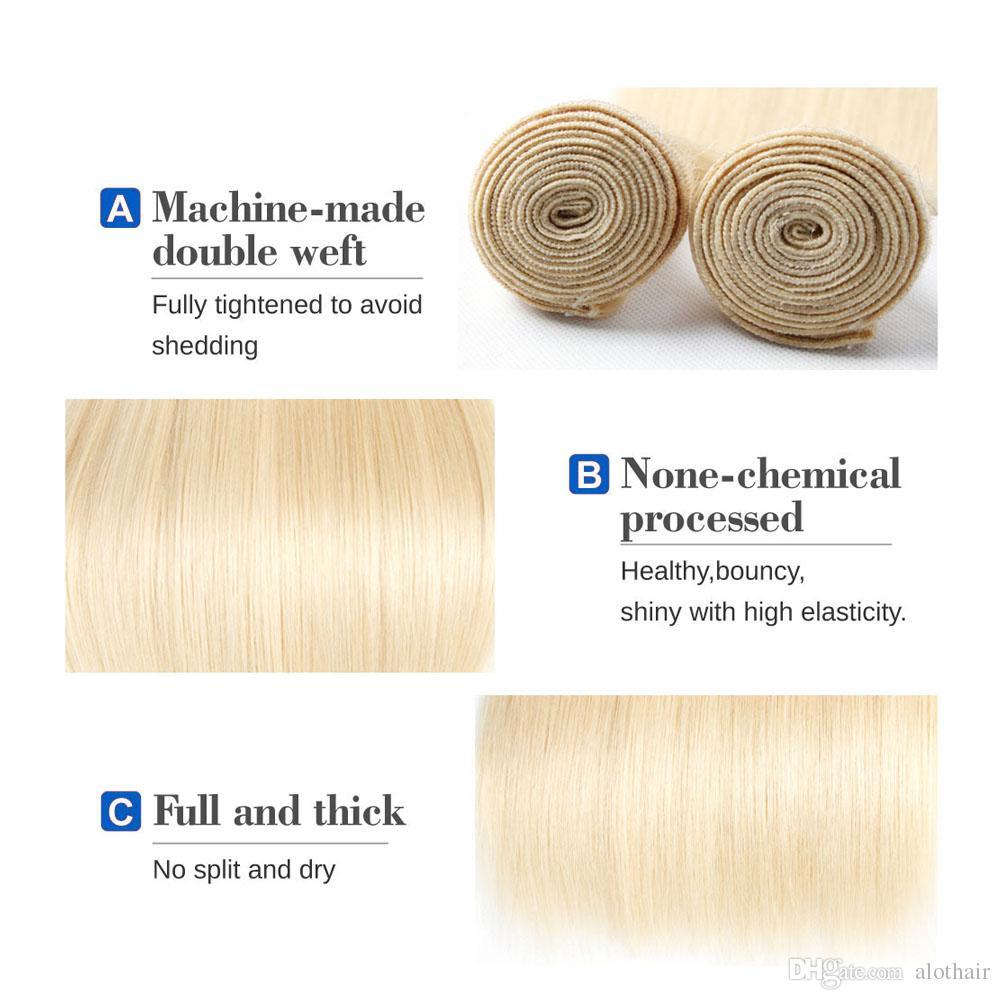 Blonde Bundles Hair Color # 613 Ear to Ear 13x4 Lace Frontal Closure con 4 Bundles brasileña virgen cabello humano Blonde teje extensiones