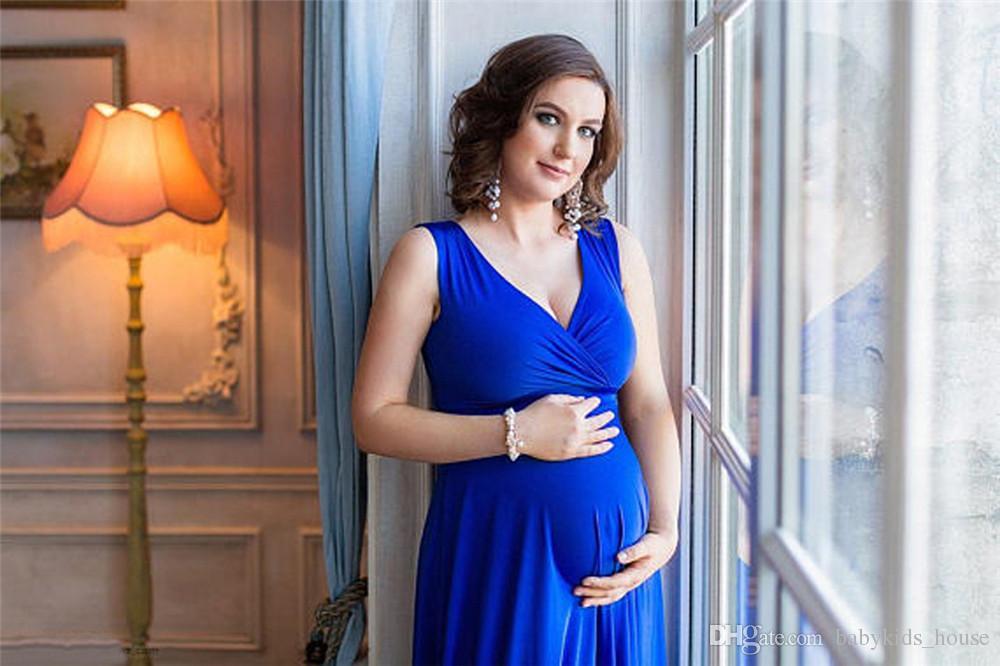 NUEVO Maternity Photography Props Maxi Vestido de maternidad con cuello en v Vestido de maternidad sin mangas Disfraz de lujo Foto embarazada Vestido
