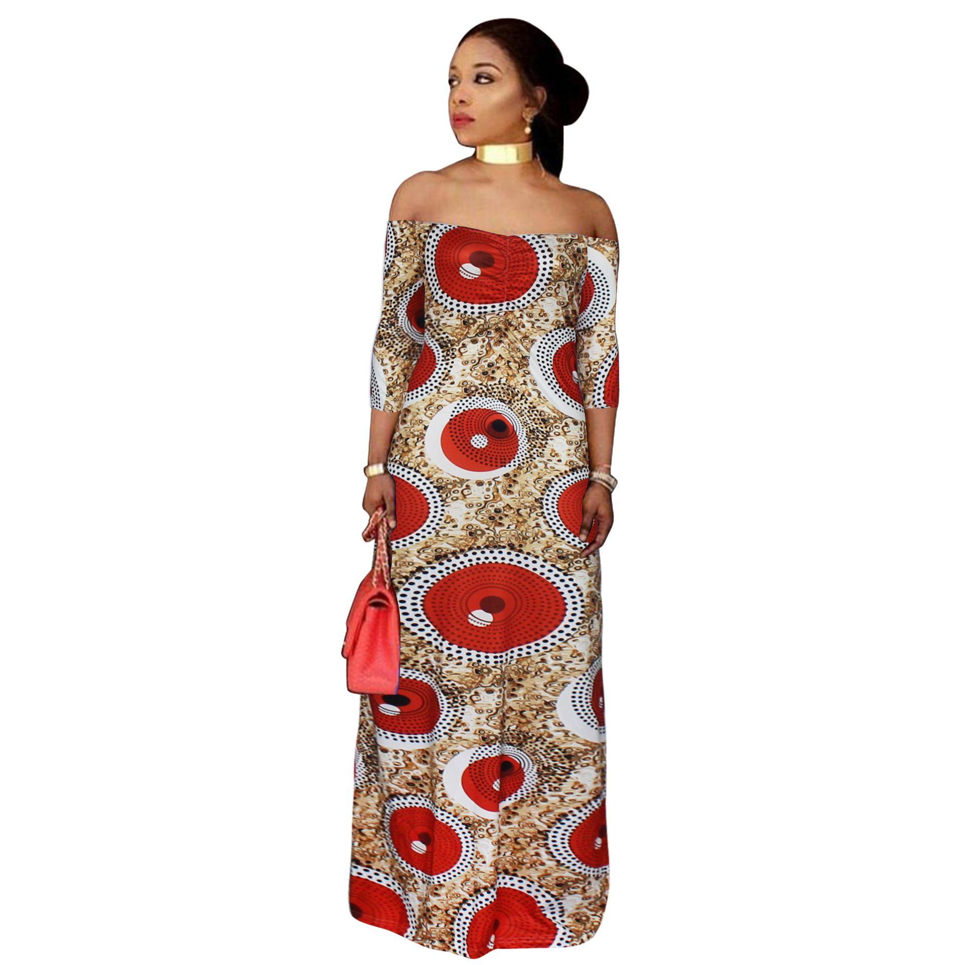 aad6e634c6c Acheter Femmes Africaines Vêtements Grande Taille Imprimé Robes Longues  Robe Maxi Africaine Épaule Été Vetsidos Robe De Soirée 2018 De  25.94 Du  Augusss ...