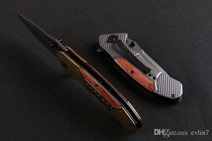 Nuovi 4 stili OEM Brown F81 Fast-apertura tattico coltello pieghevole coltelli coltello manico nero Titaniun lama d'acciaio di campeggio con l'apposito contenitore di carta al minuto