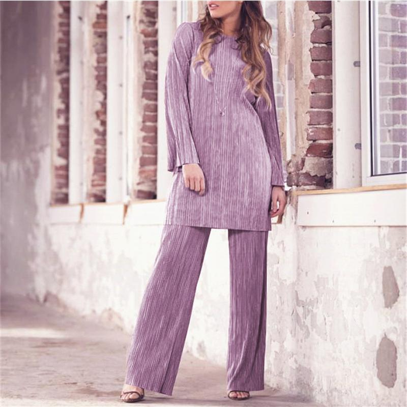 89231cfcc46 2019 Fashion Abaya Women Striped Sets Turkey Pakistan Arab Muslim Clothing  Plus Size Caftan Middle Eastern Pleated Long Sleeve Set From Daylight, ...