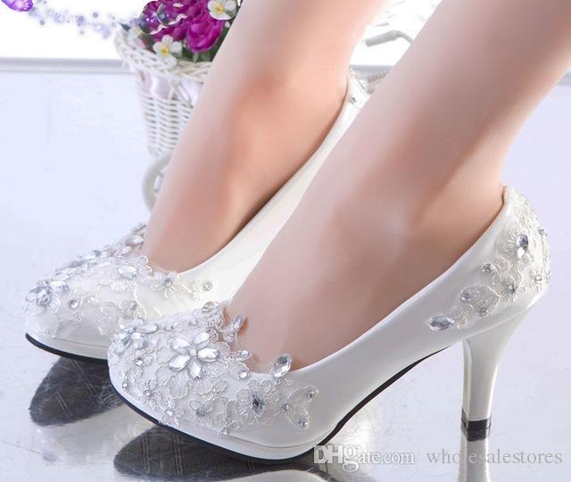 low priced cb031 133d2 9cm Ferse Silber Spitze Hochzeit Schuhe Frau Kristall Strass Plattformen  Slip auf Braut Hochzeit Pumpen Schuhe plus Größe 41 42