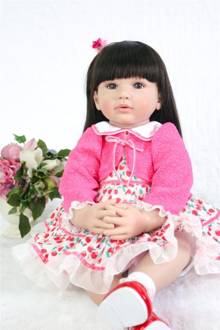 383f15c15f4512 60 CM pano macio Corpo Silicone Menina Reborn Baby Doll Xmas Brinquedos  Lifelike Bebê Princesa longo cabelo Boneca Bebe Reborn Bonecas ao vivo