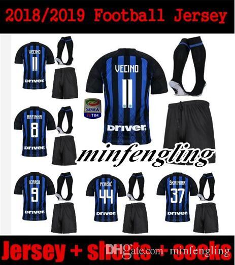 bb98714eb9d 2019 New Mens 18 19 Champions League ICARDI Kit Soccer Jersey Home INtEr  2018 2019 RAFINHA DALBERT SKRINIAR Milan Adult Kit Men Football Sh From  Minfengling ...