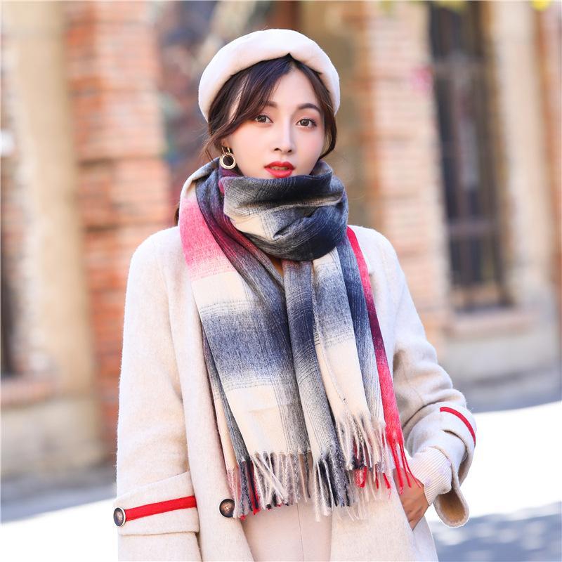 c458422bb8 Acheter Echarpe Encre Coréenne Nouveau Style Femme Cachemire Hiver  Épaississement Chaud Col Châle À Franges Mode De $47.99 Du Taihangshan    DHgate.Com