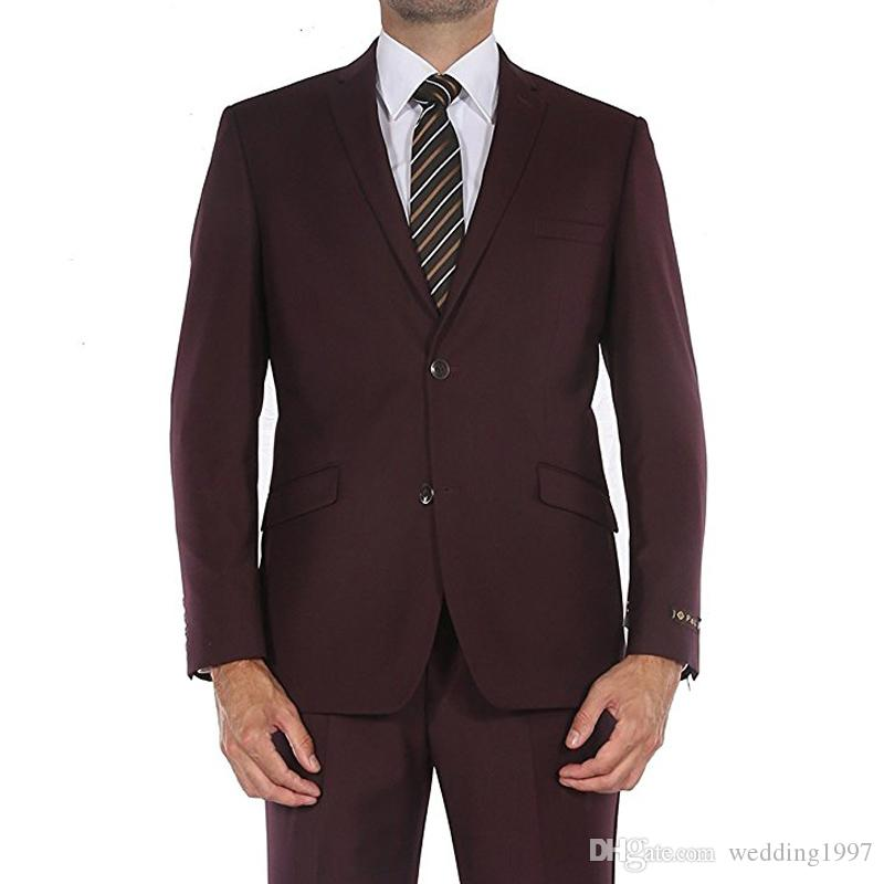 Burgundy Evening Party Formal Wedding Men Suits 2018 Latest Style Two Piece Trim Fit Custom Made Wedding Tuxedos Jacket + Pants