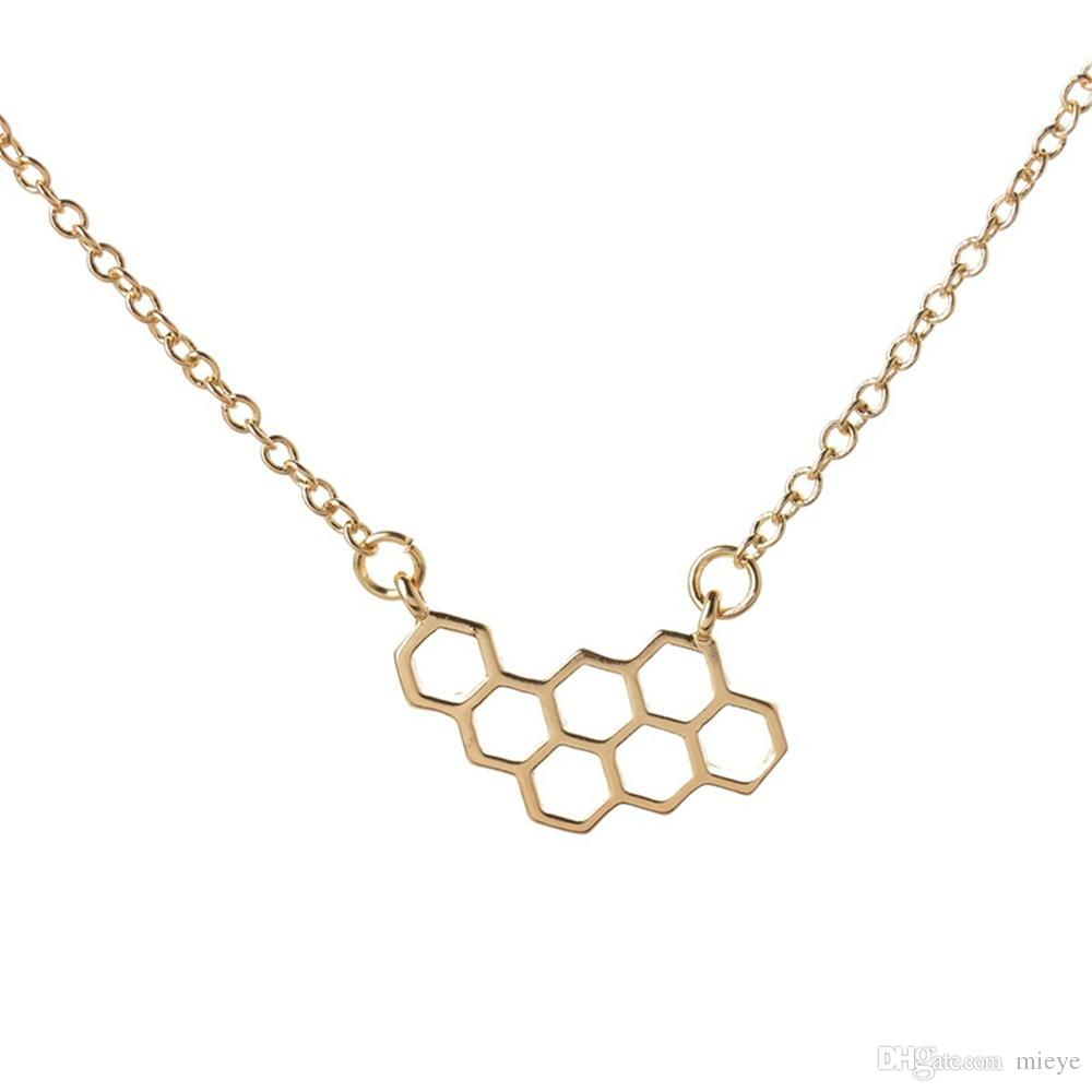 Fashion Honey Comb Bee Hive Necklace Cute Honeycomb Necklace Beehive  Necklaces Hexagon Necklace jl-019