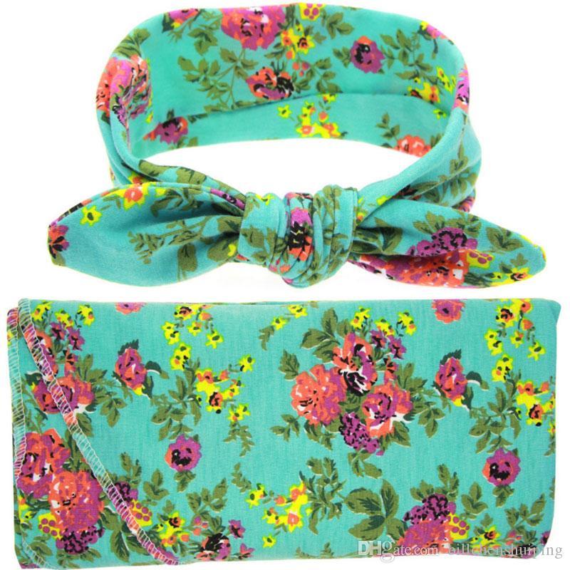 Bambino appena nato Swaddle Wrap Blanket Set infante floreale Flower Stampa panno nodo a farfalla Cap fasce trasporto libero
