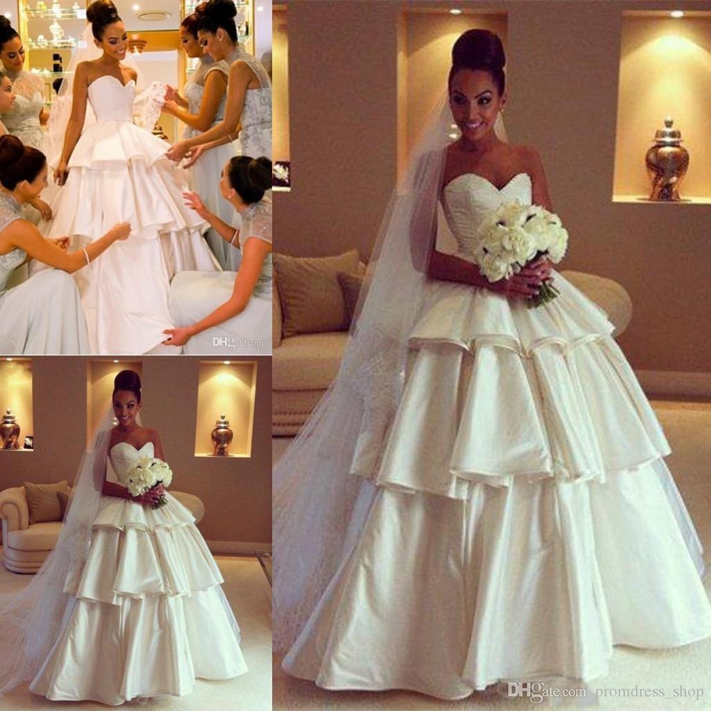 7751ff08d1 Modern A-Line Ball Gown Wedding Dresses With Strapless Sleeveless Ruffles  Satin Modest Women Church Wedding Gowns