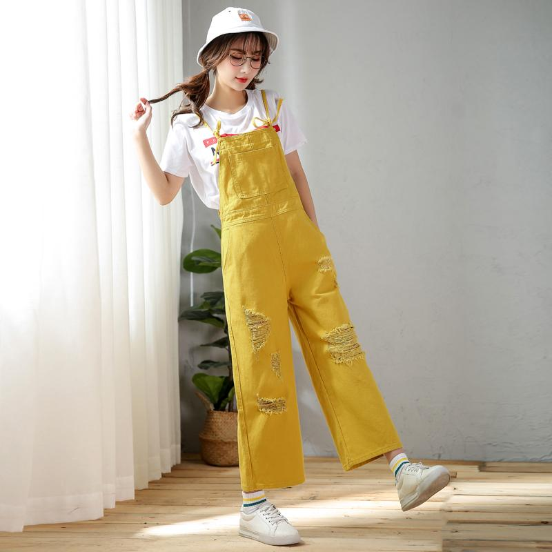 2f54626dfd Spring Summer Ripped Girl s Rompers Fashion Casual Hole Wide Leg Denim  Trousers with Braces Plus Sizes Women Jumpsuit Bib Pants