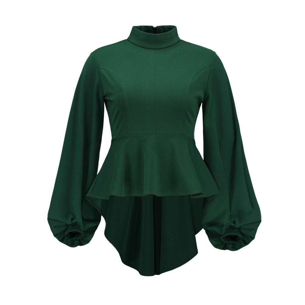 Clocolor Womens Tops ve Bluzlar Vintage Fermuar Up Tunik Sonbahar Kış Uzun Fener Kollu Bluz Yeşil Peplum kadın Bluz
