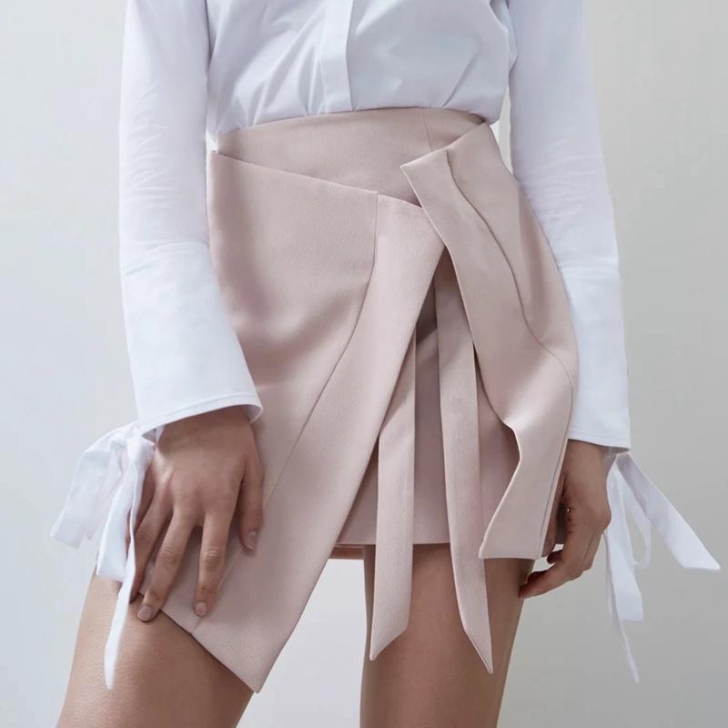 c2b867035fc20f Chic asymétrique wrap jupe femme haute couture noir rose fente rubans Boho  court mini blogger style bureau Lady une ligne jupes