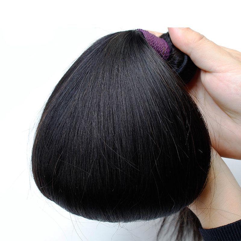 Uzun Düz Doğal Görünümlü Saç 3 adet Demetleri İşlenmemiş Brezilyalı İnsan Saç Örgüleri Uzatma Doğal Renk 10-30 Uzun Inç