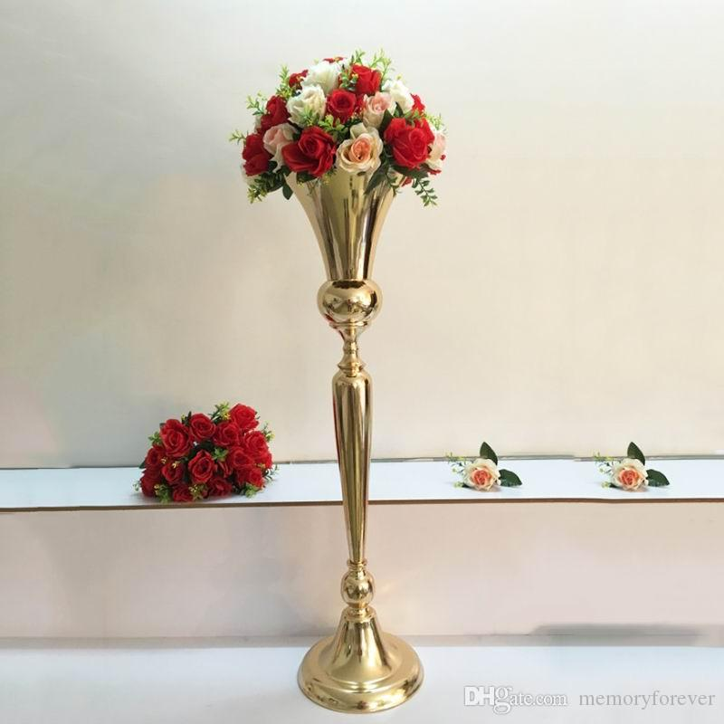 98cm Tall Vintage Flower Vase Pot Metal Trumpet Vase Wedding