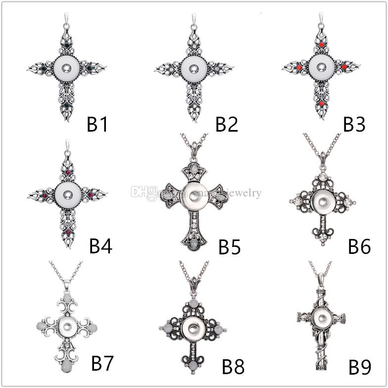 21 Style Noosa chunks ginger cross snap button jewelry heart triangle charm 18mm snap button necklace for women