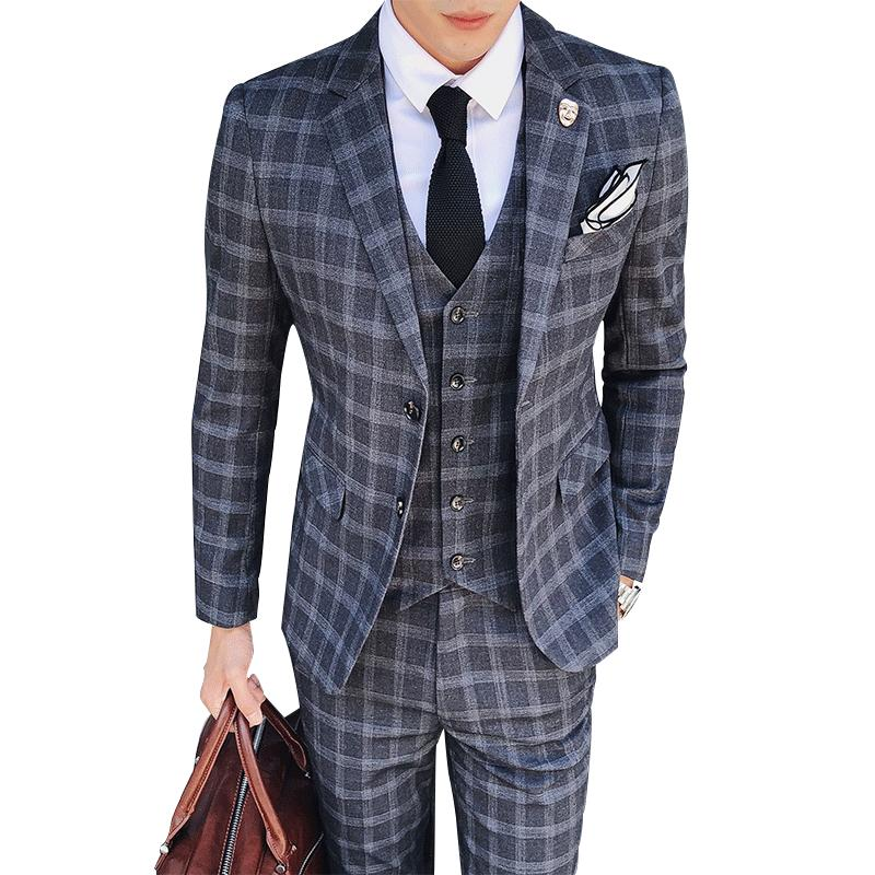 f701322b05f3 2019 High Grade Men Plaid Suit Three Piece Set Grey Dark Grey Blue Fashion  Business Hotel Banquet Mens Dress Suits Comfortable And Elegant From ...