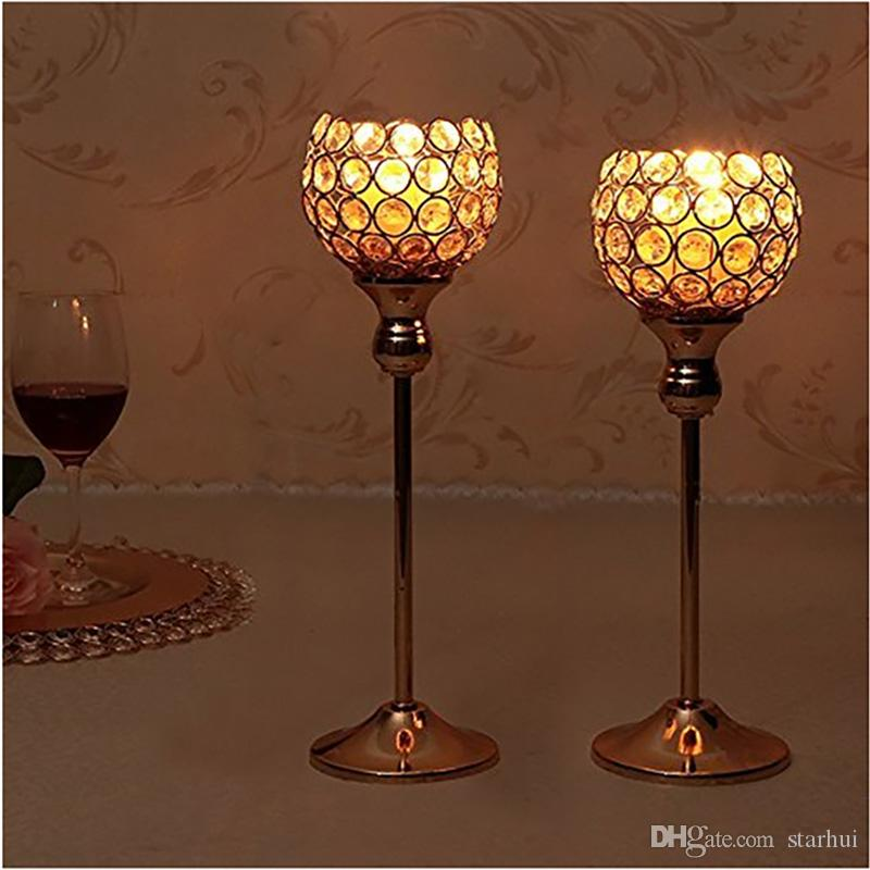 Candelabros de cristal de plata de oro de la vela de la mesa de centro del hotel candelabros del mosaico fijado para el banquete de boda del cumpleaños de la acción de gracias WX9-318