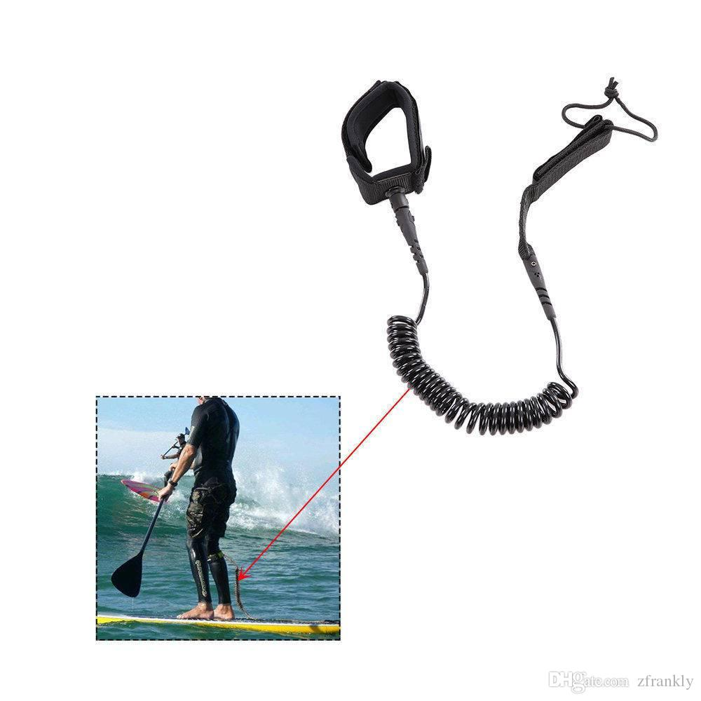Prancha de Surf Leash 10 'Coiled NOVO !! SUPERFÍCIE SUPERIOR SUPERIOR DA CABANA DO SUP da placa da pá - prancha preta e trela do SUP