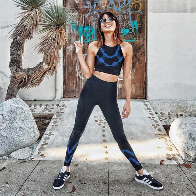 Wholesale 3d digital print slim fitness fashion yoga gym wear women ladies sport Sets