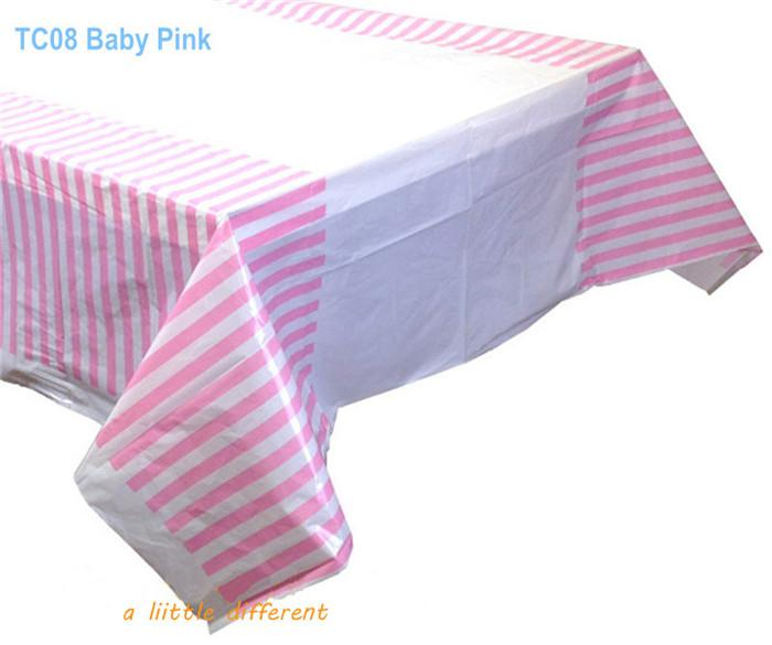 Ordinaire Wholesale Size108x180cm70X43Pink Striped Waterproof Plastic Tablecloth  Table Cover For Baby Girl Themed Birthday Party Decorations Wedding Table  Covers ...