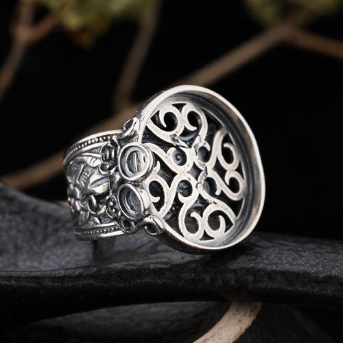 Plata fina 925 Anillo de plata retro Vintage Semi Mount Anillo de compromiso de boda Ajuste fino de la joyería