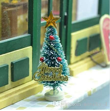 Mini Artificial Christmas Tree Party Ornaments Figurines Miniatures DIY Home Decorations Crafts Gift Small Pine Trees 365cm Decor