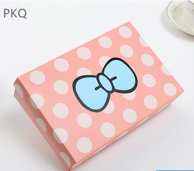 10pcs Pink dot kraft paper gift Cardboard Box sock underwear Packaging box Paper Gift with lid carton cardboard