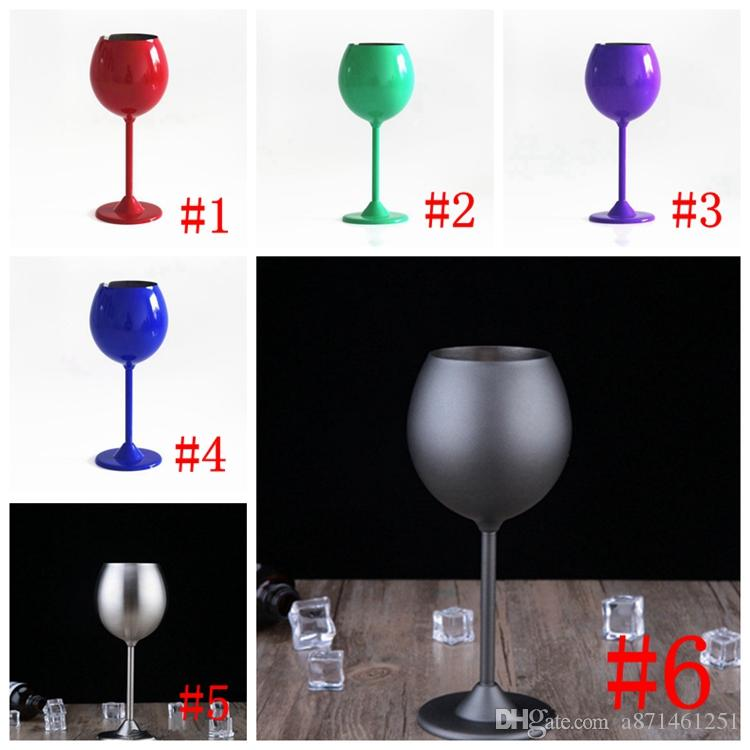 2018 300ml Wine Glasses Stainless Steel Single Layer Cups Red Wine Cups Stem Wine Goblet