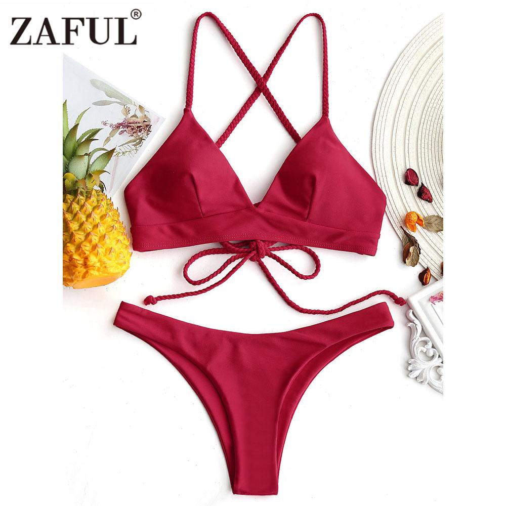 f8be2f01df Wholesale Cross Back Bikini Set Plaited Cami Swimsuit Women Brazilian Thong  Bikini Spaghetti Strap Swimwear Solid Bathing Suit Femme Online with ...