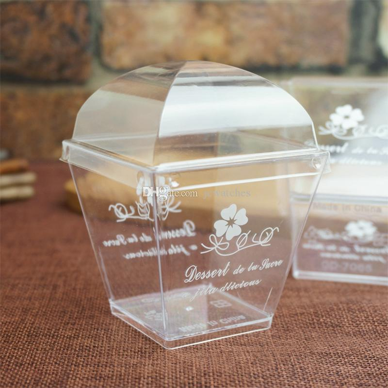 2019 Mini Clear Square Dessert Cups With Lid Jelly Pudding