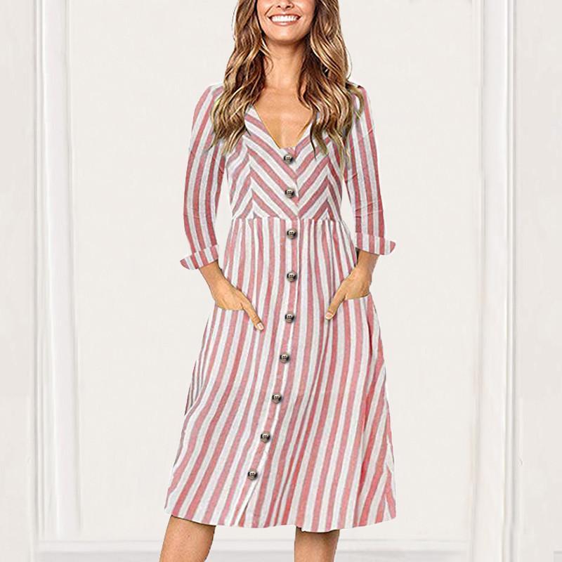 e704f0fe3641 Acquista Sexy V Neck Dress Women 2018 Autunno Moda Abito A Righe Casual  Manica Lunga Midi Dress Button Pocket Ladies Abiti Da Ufficio S XL A  34.38  Dal ...
