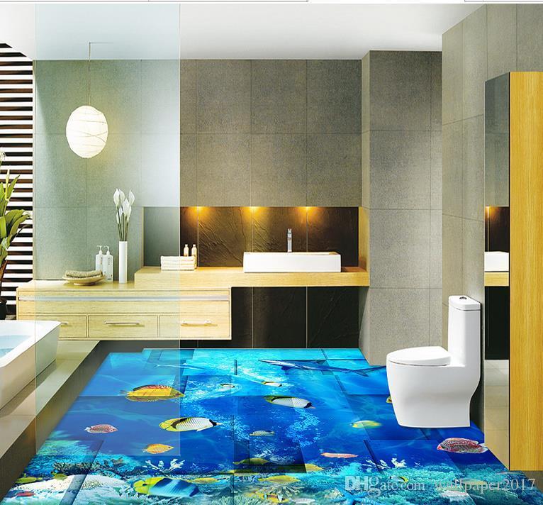 3d pavimento soggiorno e camera da letto Mondo subacqueo tridimensionale del pavimento tridimensionale muro