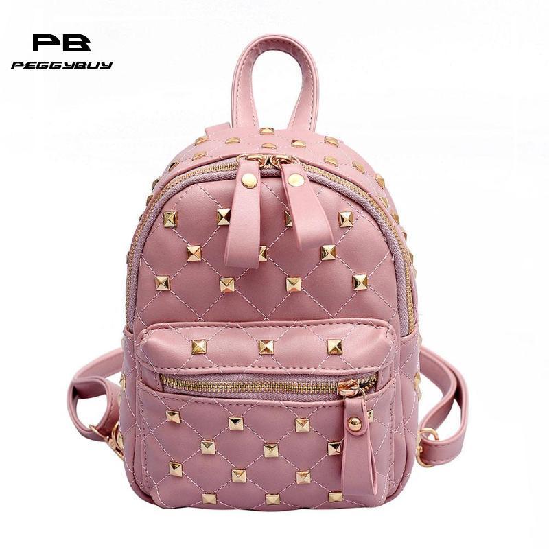 0bedd13c71a40 Fashion Rivet Mini Backpack Women Casual PU Leather Girls Travel Shoulder  Bag Waterproof Zipper Pure Color Women Teen School Bag Toddler Backpacks  Mens ...